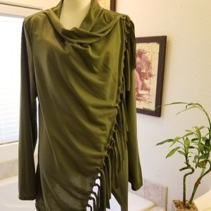 2X Olive Green Fringed Wrap w Sleeves New